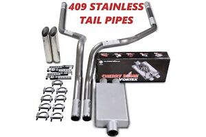 07 14 Chevy Gmc 1500 Stainless 2 5 Dual Exhaust Cherry Bomb Vortex Slash Tips
