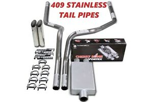 88 95 Chevy Gmc 1500 Stainless 2 5 Dual Exhaust Cherry Bomb Vortex Slash Tips