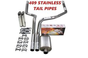 88 95 Chevy Gmc 1500 Stainless 2 5 Dual Exhaust Cherry Bomb Salute Slash Tips