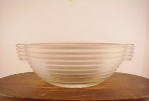 Vintage Screams Art Deco Handled Frosted Glass Bowl Manhattan Style