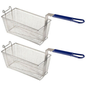 Commercial Restaurant Home 2pcs Deep Fryer Baskets W Non Slip Handle 13x6x6