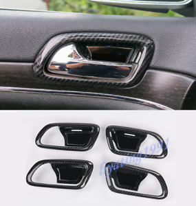 Carbon Fiber Inner Door Handle Bowl Cover Trim For Jeep Grand Cherokee 2014 2018