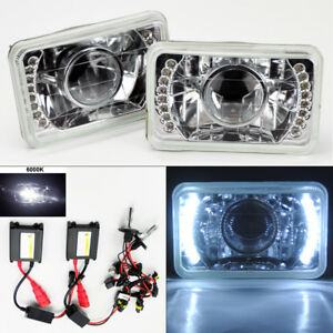 4x6 6k Hid Xenon H4 Projector Clear Led Drl Glass Headlight Conversion Pair