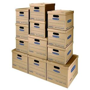 Moving Kit Boxes Tape free Assembly Carry Handles 8 Small 4 Medium 2xpack Of12