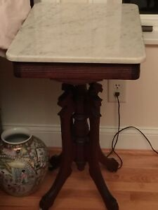 Antique Marble Top Victorian Style End Table