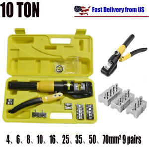 10t Hydraulic Wire Battery Cable Lug Terminal Hand Crimpers Crimping Tool 9 Dies