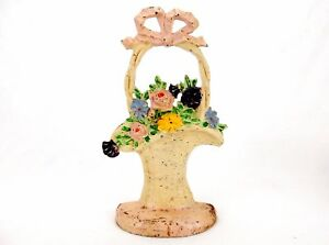 Antique Hubley Cast Iron French Basket Of Flowers 69 Figural Doorstop