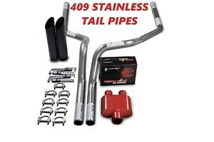 04 14 Ford F 150 Stainless 2 5 Dual Exhaust Kit Cherry Bomb Extreme Black Tips