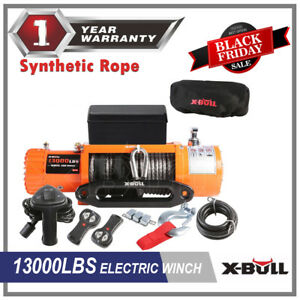 X Bull Electric Winch Towing Truck Trailer 12v 13000lbs Synthetic Rope 12000lbs