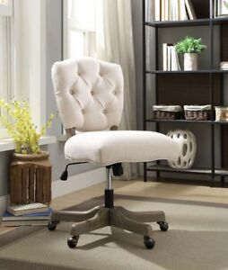 Linon Kelsey Office Chair White 18 5 22 5 Inch Adjustable Seat Height Executive