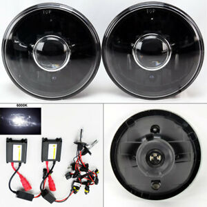 7 Round 6k Hid Xenon H4 Black Projector Glass Headlight Conversion Pair Chevy