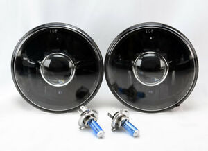 7 Round H4 Black Projector Glass Headlight Conversion Pair W Bulbs Dodge