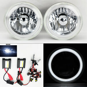 7 Round 8k Hid Xenon H4 Clear Ccfl Drl Glass Headlight Conversion Pair Ford