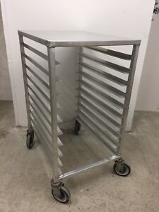 Half Size Commercial Bakery Bun Pan Rack Cart Work Top Wheels 10 Tray Capacity