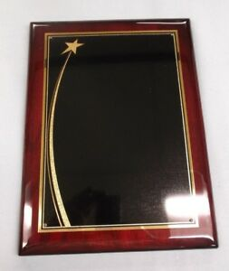 Trophy Parts 9 X 12 Plaque High Gloss Solid Wood Mahogany Laser Plate P4187