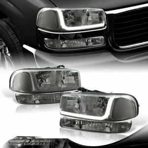For 1999 2006 Gmc Sierra 1500 2500 Drl Led Smoke Clear Headlights bumper Lamps