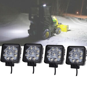 4pcs Cree Led Driving Light 4inch 27w Spot Beam Square Jeep Suv Boat Atv Utv