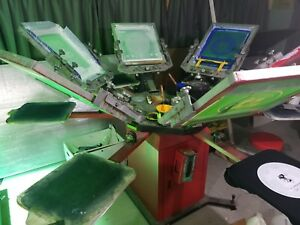 6x6 Station Screen Printing Press With Flash Dryer Exposure Unit