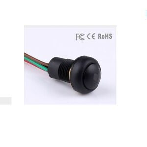 6pcs 12mm Black Latching Illumination Pushbutton Switch With Wire And Led Light