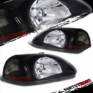 For 1996 1997 1998 Honda Civic 2 3 4dr Factory Style Black Headlights Pair