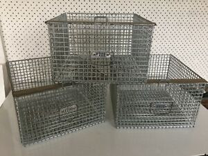 6 Industrial Vintage Metal School Gym Lockers Wire Baskets Machine Age Pool Bins