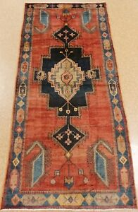 Persian Luri Tribal Hand Knotted Wool Coral Blue Startling Oriental Rug 5 X 11