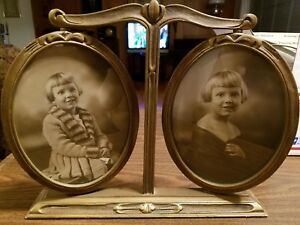 Vintage Swivel Gesso Wood Double Oval Picture Frame