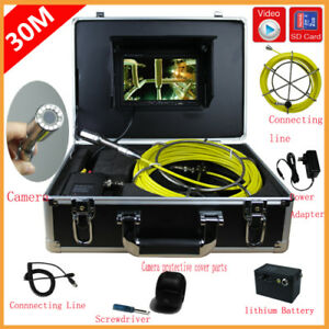 12 Led 30m Sewer Waterproof Camera 7 Tft Monitor Drain Pipe Inspection System