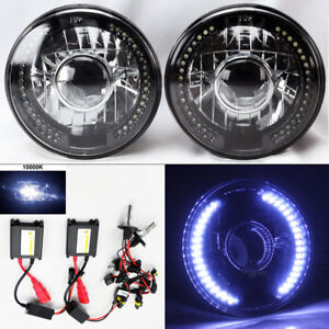 7 Round 10k Hid Xenon H4 Bk cm Projector Led Drl Glass Headlight Conversion Chv