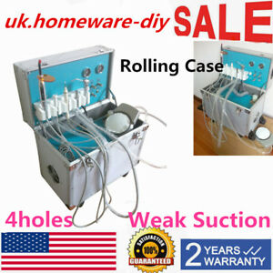 Portable Dental Delivery Unit system Rolling Case With Weak Suction 4 Holes Usa