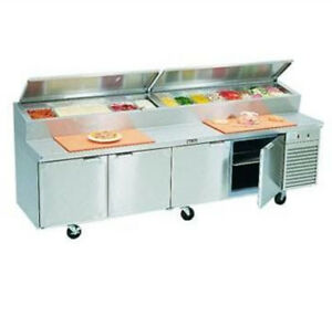 10 Ft New 4 door Commercial Refrigerated Pizza Prep Table