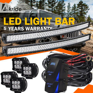 50 Curved Led Light Bar Upper Roof Mount 4 Pod Wiring For 07 13 Toyota Tundra