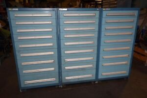 1 Lot Of 3 Vidmar 9 Drawer Cabinets inv 38864