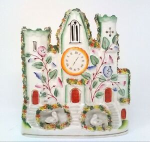19th C Staffordshire Castle Figurine Pastille Burner Spill Watch Clock Swan