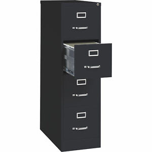 Hirsh Industries Deep 4 drawer Letter File Cabinet Black 15inwx26 1 2indx52inh
