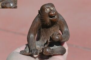 1930 S Japanese Wood Carved Carving Monkey Inlay Eyes Persimmon Okimono Sg As Is
