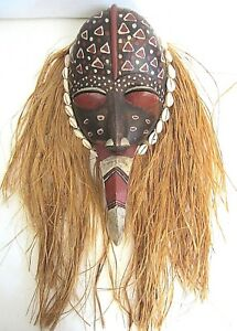 Stunning Antique Ivory Coast Tribal Mask Authentic Hand Hewn Wooden