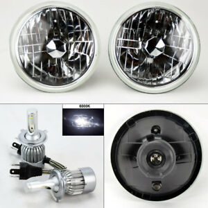 7 Round Clear Glass Headlight Conversion W 6000k 36w Led H4 Bulbs Pair Ford