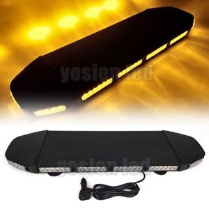 28 216 W Led Emergency Beacon Light Bar Warning Truck Tow Roof Top Strobe Amber
