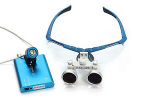 Best Dental Surgical Medical Binocular Loupes 3 5x420mm Led Head Light Lamp Usa