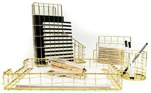 Gold Desk Organizer 4 Piece Office Accessories Set Letter Mail Sorter Dorm Home
