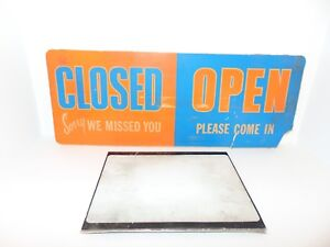 Vintage Open Closed Sign Sliding Hours Thank You Come Again Drug Store
