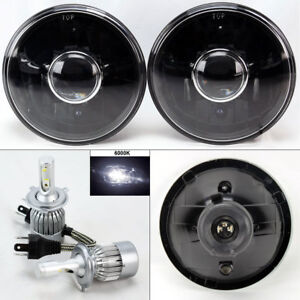 7 Round Black Glass Projector Headlight Conversion W 6k 36w Led H4 Bulbs Pair