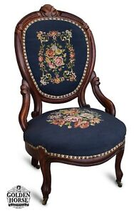 Antique Mid Victorian Carved Cherry Slipper Chair Needlepoint C 1850