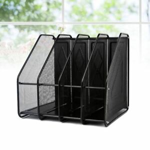 Metal Tray Desk Office File Document Holder 4 Compartments Stackable Organizer