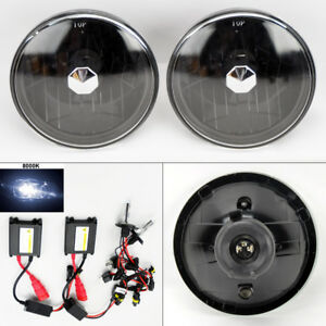 7 Round 8k Hid Xenon H4 Black Glass Headlight Conversion Pair Rh Lh Dodge