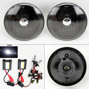 7 Round 6k Hid Xenon H4 Black Glass Headlight Conversion Pair Rh Lh Dodge