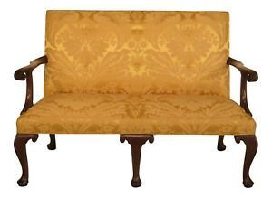 43977e Kittinger Cw 154 Mahogany Settee In Scalamandre Fabric