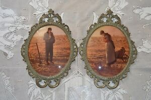 2 Vintage Oval Picture Frames Domed Convex Bubble Glass Metal Frames 17x12