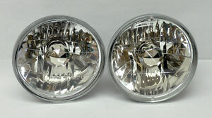 7 Round 8000k Hid Xenon H4 Crystal Clear Headlight Conversion W Bulbs